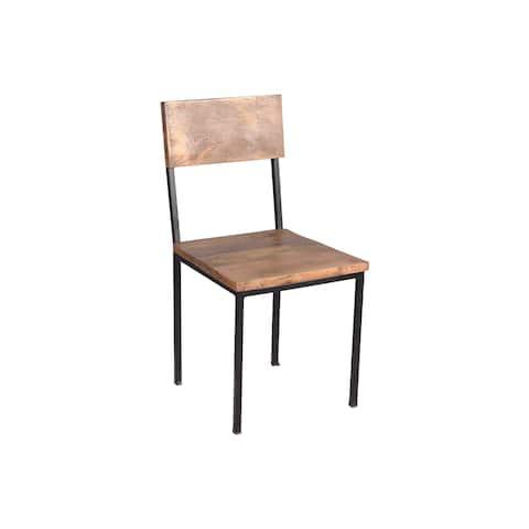 "Handmade Mango Wood and Metal Chair, Set of 2 - 36"" x 18"" x 18"" (India)"
