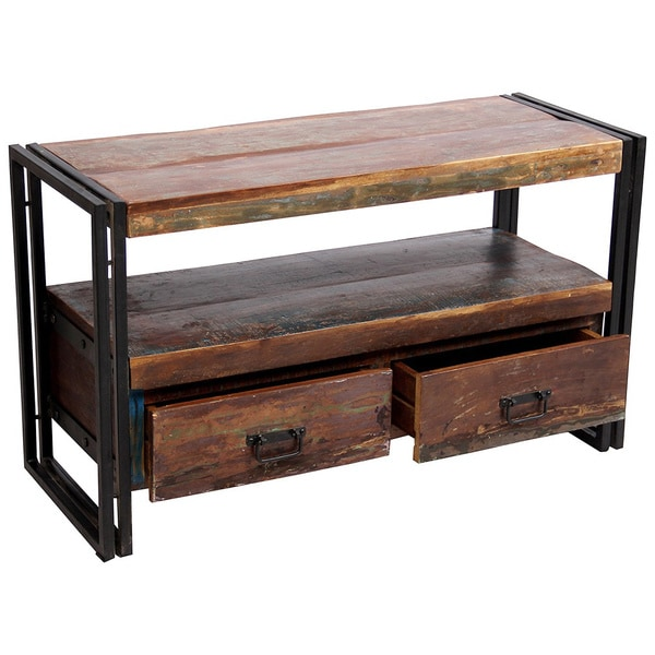 Timber Old Reclaimed Wood Tv Cabinet With Double Drawers