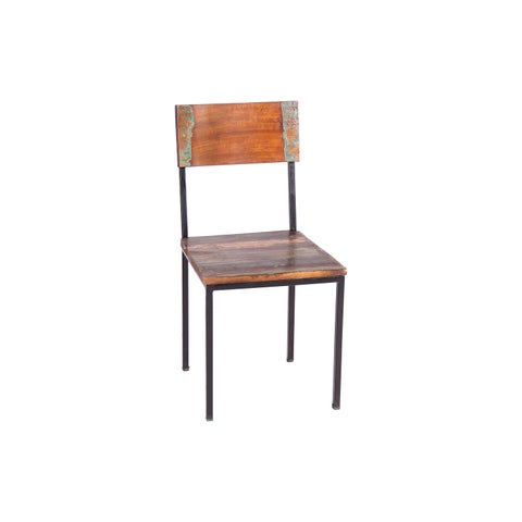 Handmade Timbergirl Old Reclaimed Wood and Metal Chair - Set of 2 (India)