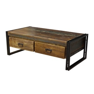 Timbergirl Old Reclaimed Wood Coffee Table with Double Drawers