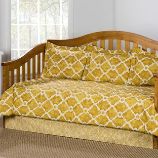 Athens Trellis Pattern Goldenrod Cotton 5-piece Daybed Set