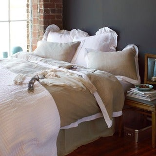 Beau Natural Linen Duvet Cover with White Flange