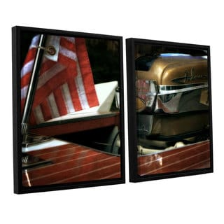 ArtWall Kevin Calkins ' Chris Craft And Old Glory 2 Piece Floater Framed Canvas Set