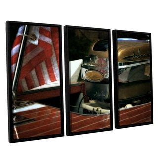 ArtWall Kevin Calkins ' Chris Craft And Old Glory 3 Piece Floater Framed Canvas Set