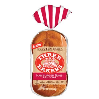 Three Bakers Gluten Free Whole Grain Hamburger Buns (Pack of 2)