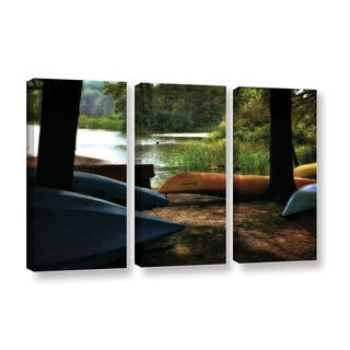 ArtWall Kevin Calkins ' Kayaks At Rest 3 Piece ' Gallery-Wrapped Canvas Flag Set