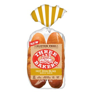 Three Bakers Gluten Free Hot Dog Buns (Pack of 2) - brown