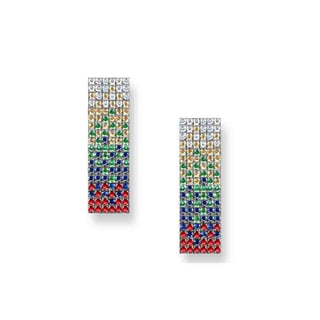 Estie G 18k White Gold Colored Sapphire Tsavorite and 1/4ct TDW Diamond Earrings (H-I, VS1-VS2)