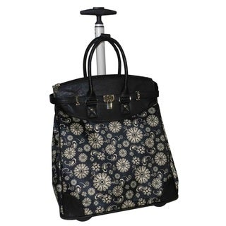 Paisley Blossom Foldable Rolling Carry-on 14-inch Laptop/ Tablet Tote Bag