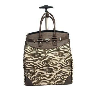 Canvas Bronze Metallic Zebra Foldable Rolling Carry-on 14-inch Laptop/ Tablet Tote Bag