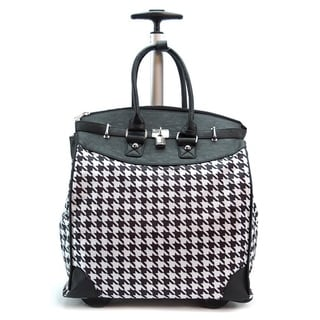 Link to Classic Black Houndstooth Foldable Rolling Carry-on 14-inch Laptop/ Tablet Tote Bag Similar Items in Carry On Luggage