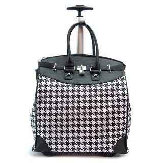Classic Black Houndstooth Foldable Rolling Carry-on 14-inch Laptop/ Tablet Tote Bag