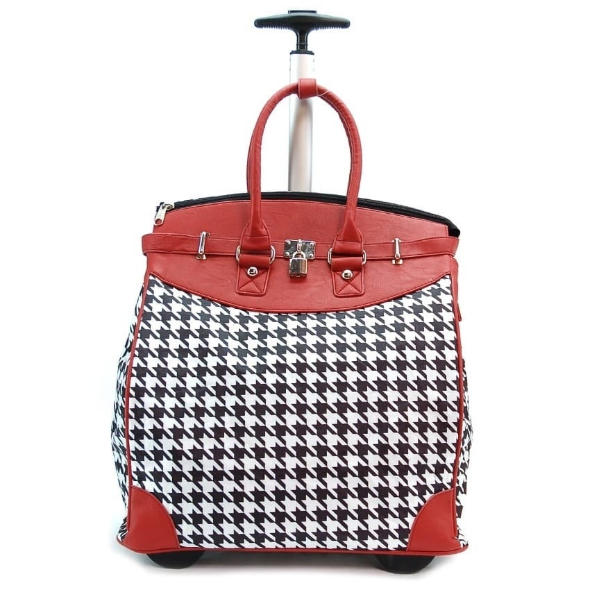 Classic Red Houndstooth Foldable Rolling Carry-on 14-inch...