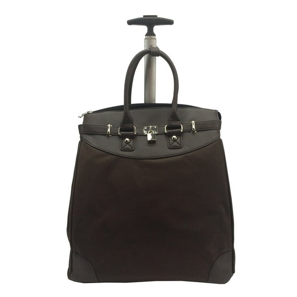 Classic Brown Microfiber Rolling Carry On 14-inch Laptop/ Tablet Tote Bag