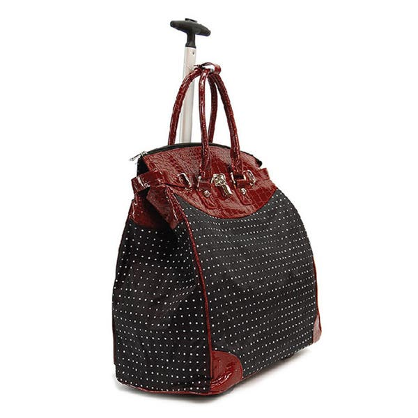 14123341aaad Classic Red Polka Dot Foldable Rolling Carry-on Tote Bag