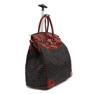 Classic Red Polka Dot Foldable Rolling Carry-on Tote Bag
