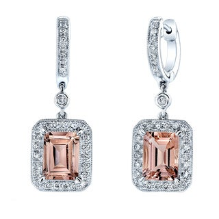 Estie G 14k White Gold Morganite and 1/2ct TDW Diamond Earrings (H-I, VS1-VS2)