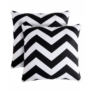 Slumber Shop Rockford Zig-zag Black Decorative 18-inch Throw Pillow (Set of 2)