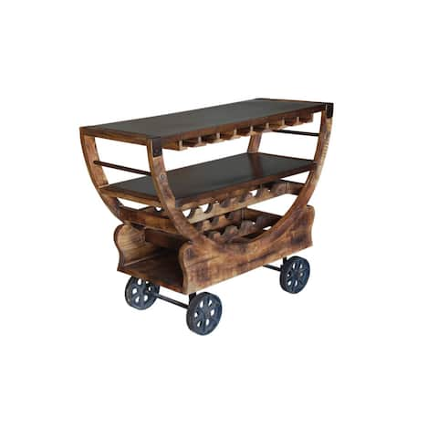 "Somette Mango and Bronze Bar Trolley - 48""L x 19""W x 36""H"