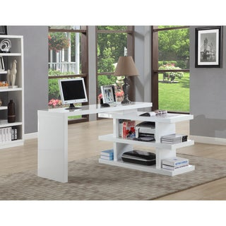 Somette Gloss White Motion Home Office Desk
