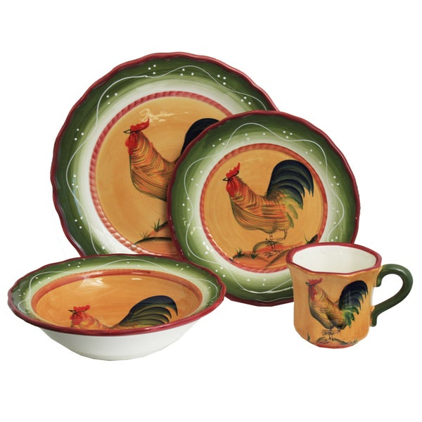 Rooster Hand-painted 16-Piece Dinner Set - Serving for 4  sc 1 st  Overstock.com & Rooster Hand-painted 16-Piece Dinner Set - Serving for 4 - Free ...