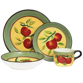Casa Cortes Apple Collection Hand-painted 16-Piece Dinner Set - Serving for 4