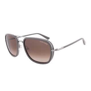 Tom Ford FT0340 14k Riccardo Dark Gunmetal Square Sunglasses