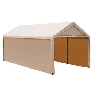 Abba Patio 10 x 20-foot Heavy Duty Beige Domain Carport/ Enclosed Car Canopy Versatile Shelter with Sidewalls