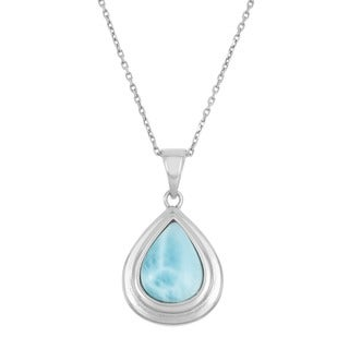 La Preciosa Sterling Silver Larimar Gemstone Teardrop Necklace