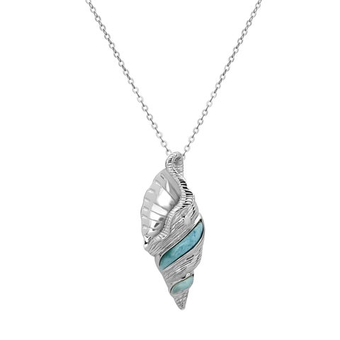 La Preciosa Sterling Silver Larimar Gemstone Conch Seashell Necklace
