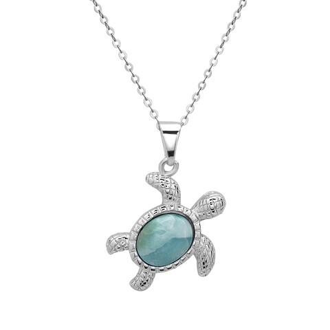 La Preciosa Sterling Silver Larimar Gemstone Turtle Necklace
