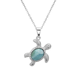 La Preciosa Sterling Silver Larimar Gemstone Turtle Necklace