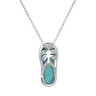 La Preciosa Sterling Silver Larimar Gemstone Flip-flop with Palm Tree Necklace