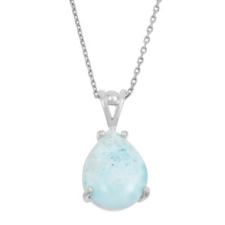 La Preciosa Sterling Silver Larimar Teardrop Gemstone Necklace