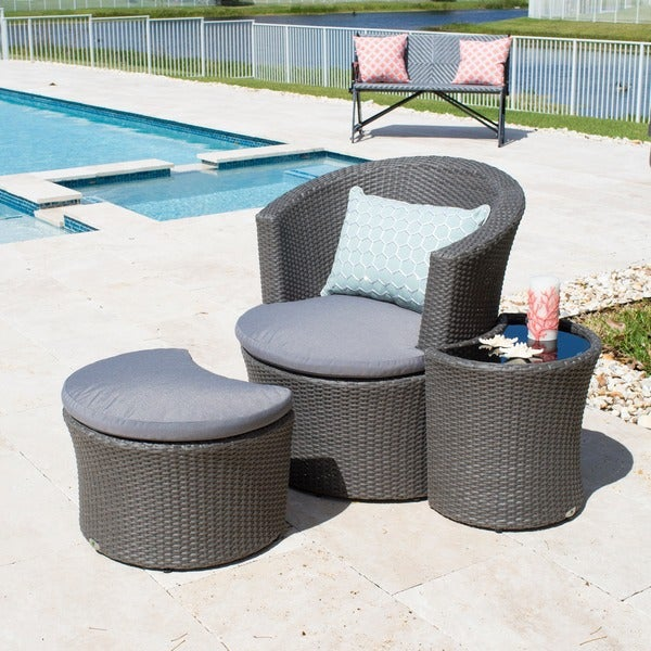 Outdoor Grey Synthetic Rattan Lounge Chair Ottoman Side Table Set