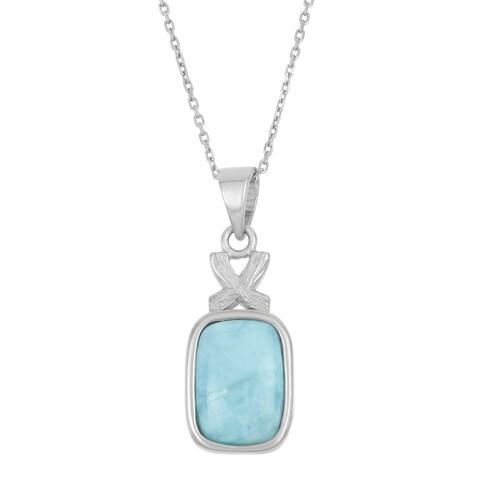 La Preciosa Sterling Silver Larimar Gemstone Rectangle Necklace