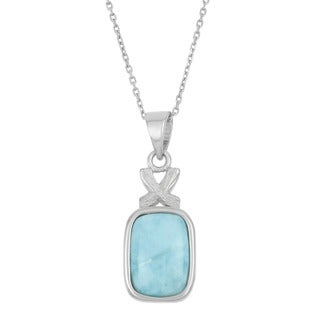 La Preciosa Sterling Silver Larimar Gemstone Rectangle Necklace