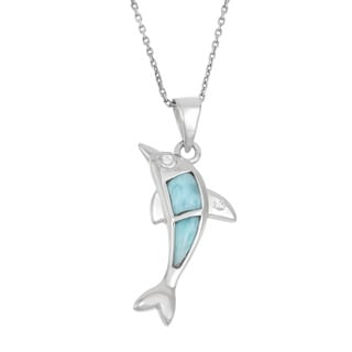 La Preciosa Sterling Silver Larimar and Cubic Zirconia Dolphin Necklace