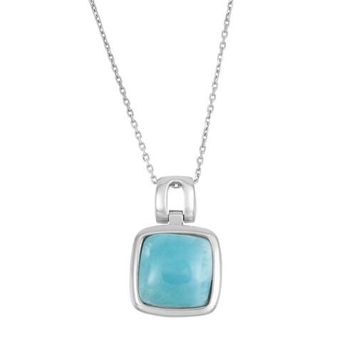 La Preciosa Sterling Silver Larimar Gemstone Square Necklace