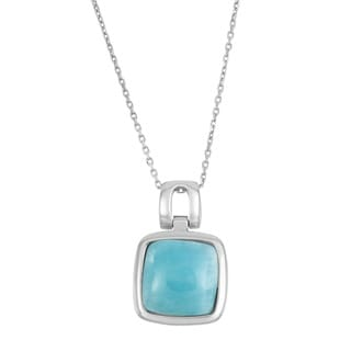 La Preciosa Sterling Silver Larimar Gemstone Square Necklace