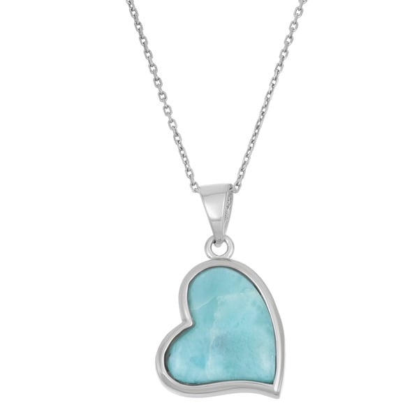 La Preciosa Sterling Silver Larimar Gemstone Heart Necklace