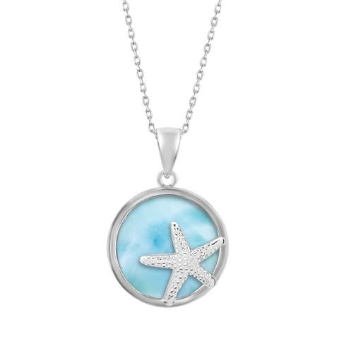 La Preciosa Sterling Silver Larimar Gemstone Starfish Circle Necklace
