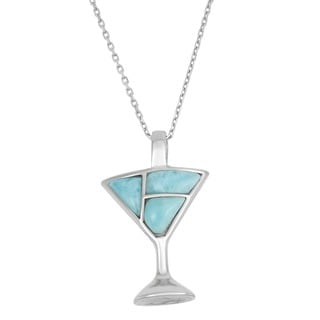La Preciosa Sterling Silver Larimar Gemstone Martini Glass Necklace