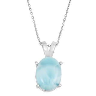 La Preciosa Sterling Silver Larimar Gemstone Oval Necklace