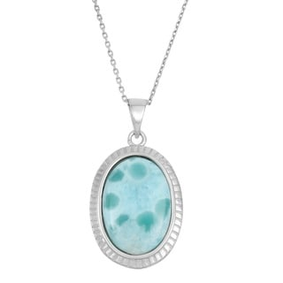 La Preciosa Sterling Silver Larimar Oval Gemstone Necklace