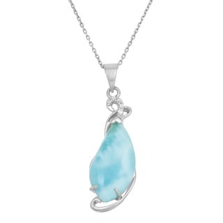 La Preciosa Sterling Silver Blue Larimar and Cubic Zirconia Necklace