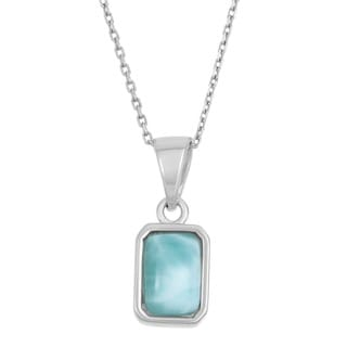 La Preciosa Sterling Silver Larimar Gemstone Rectangular Necklace