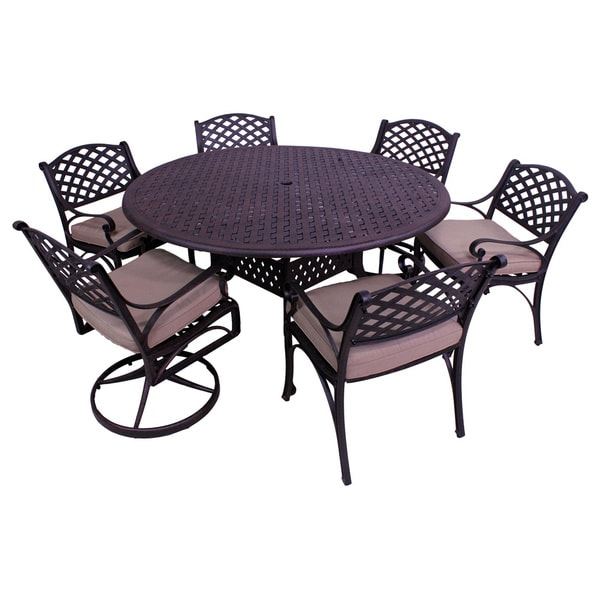 7 Piece Round Dining Table Set: Lattice Work 7-piece 60-inch Round Table Dining Set