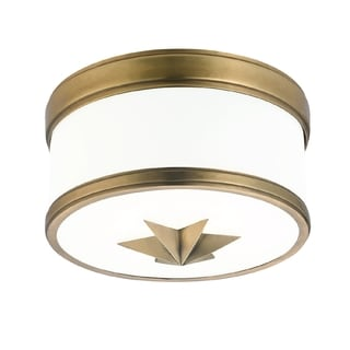 Hudson Valley Seneca 1-light Flush Mount, Aged Brass
