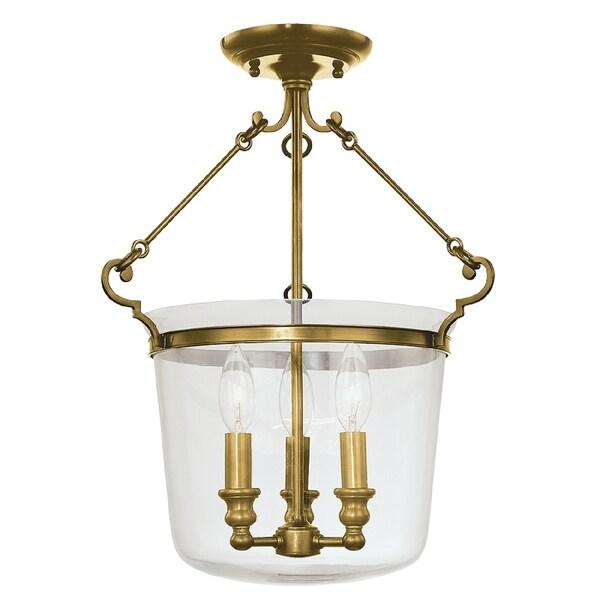 Hudson Valley Quinton 3-light Semi Flush, Aged Brass